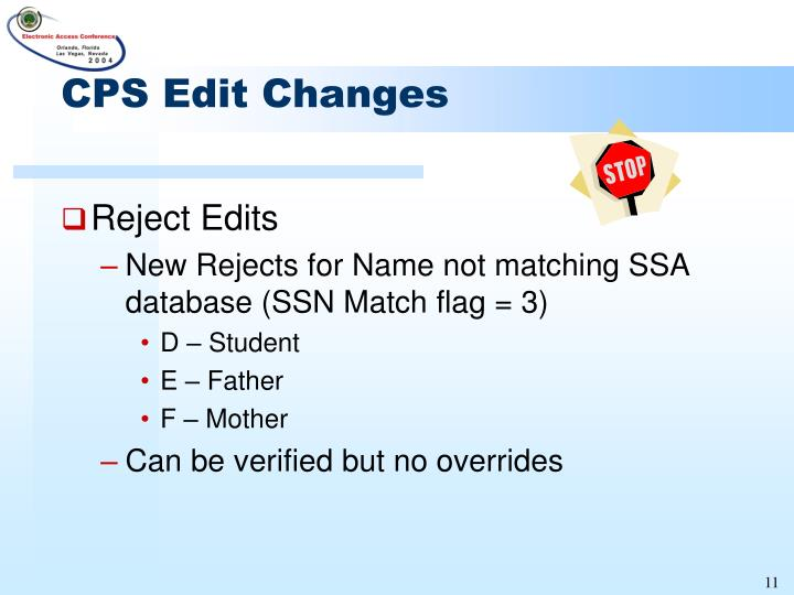 CPS Edit Changes