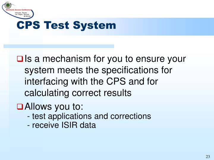 CPS Test System