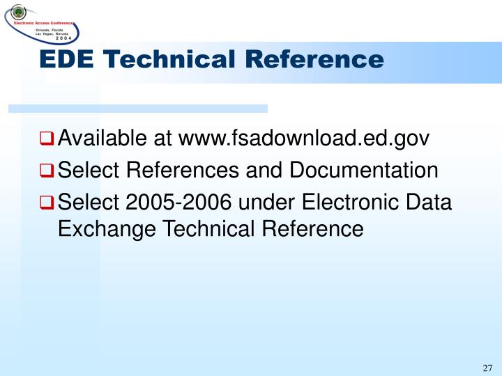 EDE Technical Reference