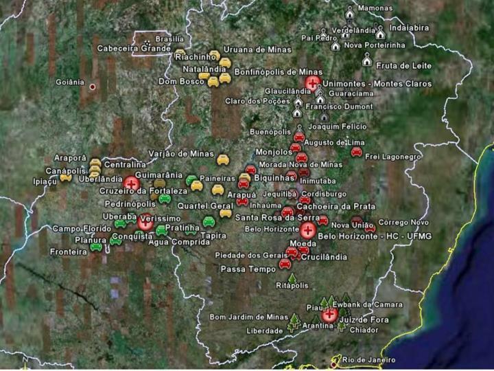 Pólos e Municípios do Projeto Minas Telecardio