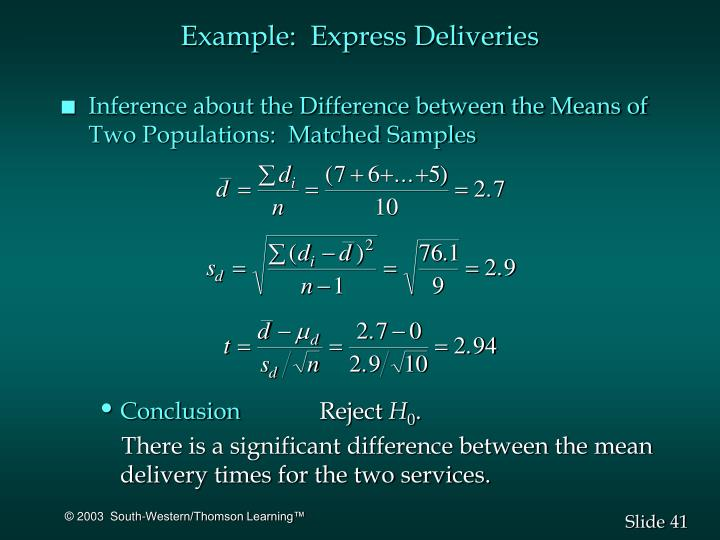 Example:  Express Deliveries