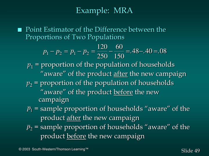 Example:  MRA