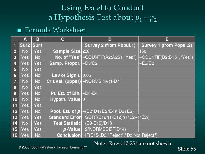 Using Excel to Conduct