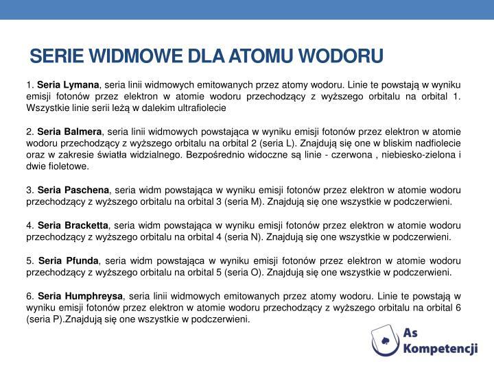 Serie widmowe dla atomu wodoru