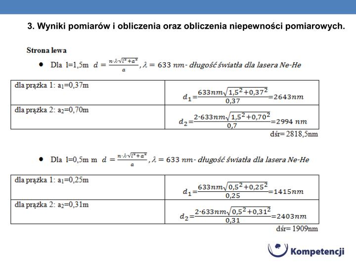 3. Wyniki pomiarów i obliczenia oraz obliczenia niepewności pomiarowych.