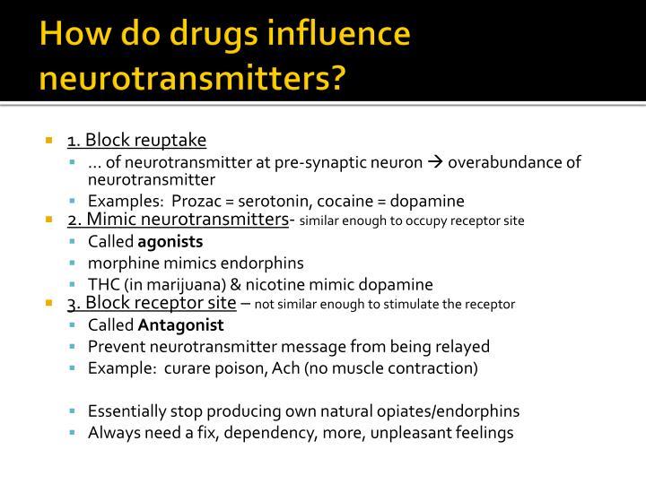 How do drugs influence neurotransmitters?