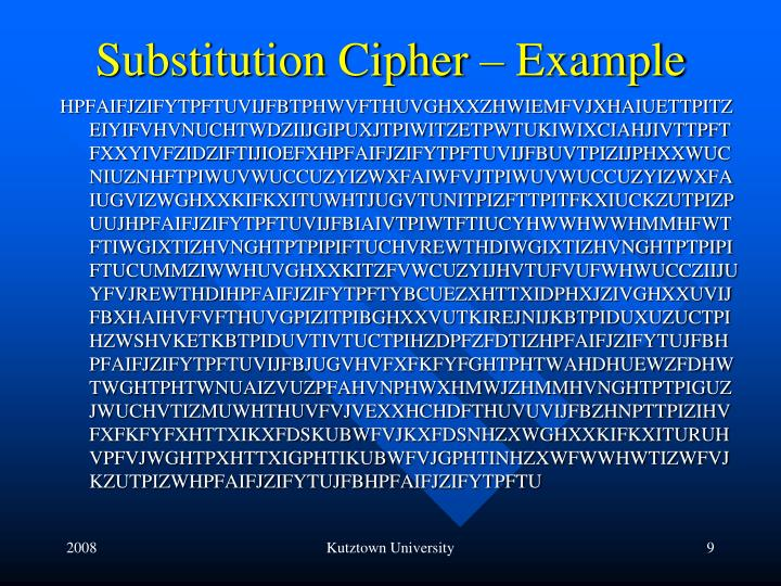 Substitution Cipher – Example