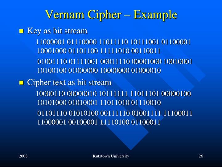 Vernam Cipher – Example