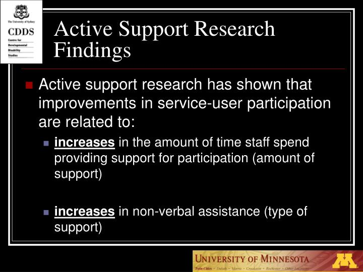 Active Support Research Findings
