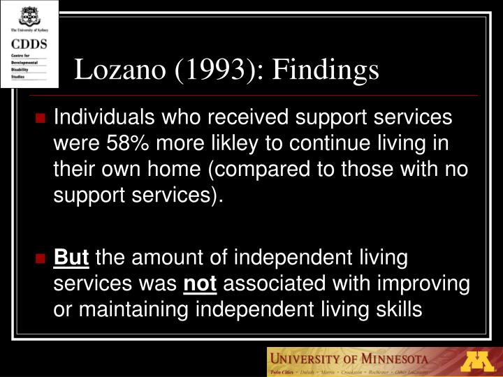 Lozano (1993): Findings
