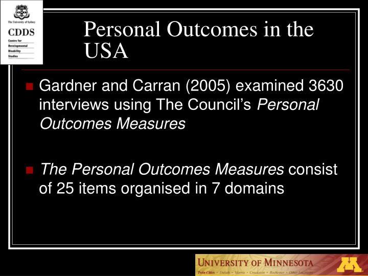 Personal Outcomes in the USA
