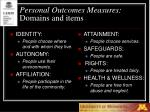 personal outcomes measures domains and items