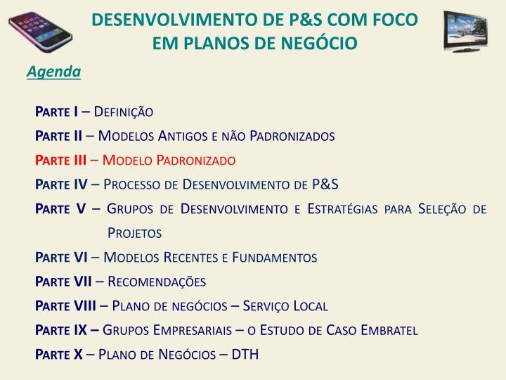 DESENVOLVIMENTO DE P&s COM FOCO EM PLANOS DE NEGÓCIO