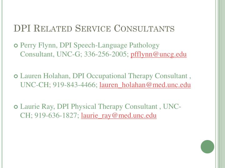 DPI Related Service Consultants