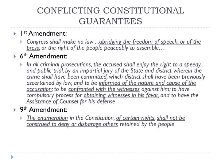 Conflicting constitutional guarantees