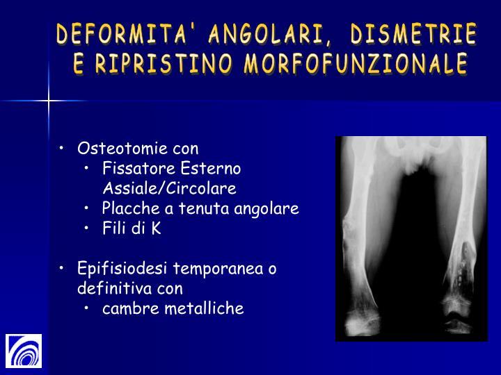 DEFORMITA' ANGOLARI,  DISMETRIE