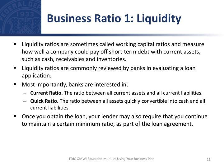 Business Ratio 1: Liquidity