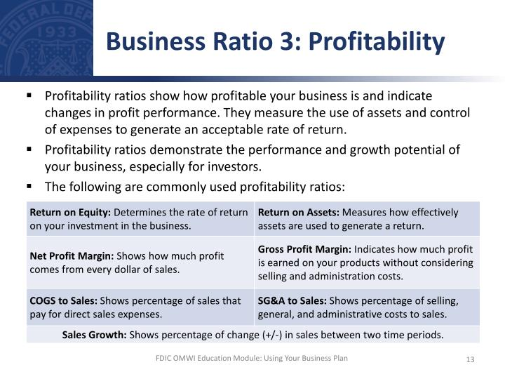 Business Ratio 3: Profitability