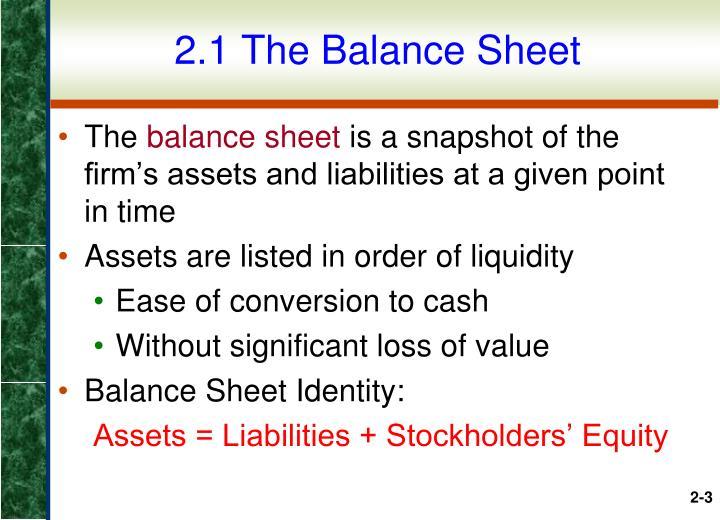 2.1 The Balance Sheet