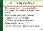 2 1 the balance sheet