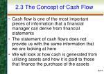 2 3 the concept of cash flow