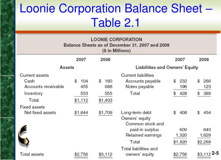 Loonie Corporation Balance Sheet – Table 2.1