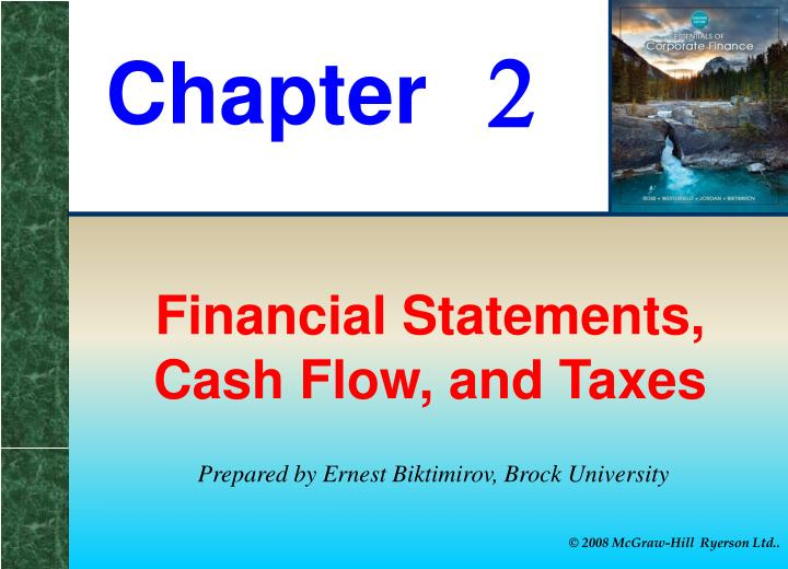 Financial statements cash flow and taxes