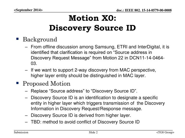 Motion x0 discovery source id