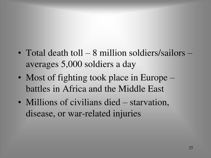 Total death toll – 8 million soldiers/sailors – averages 5,000 soldiers a day