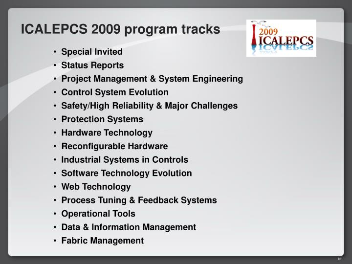 ICALEPCS 2009 program tracks