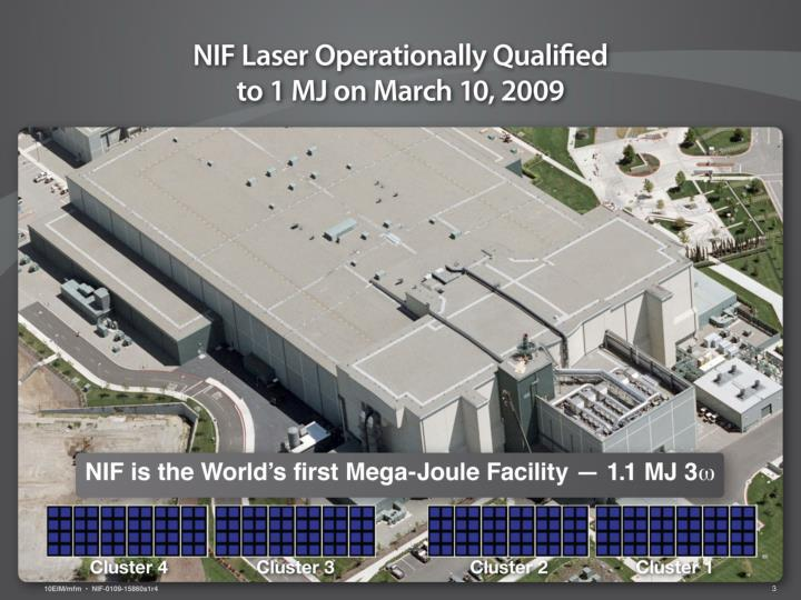 NIF Laser operationally qualified to 1 MJ on March 10, 2009