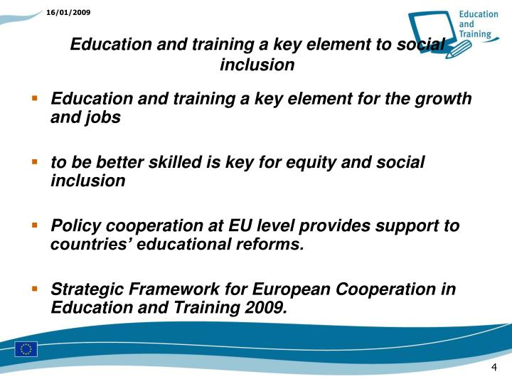 Education and training a key element for the growth and jobs