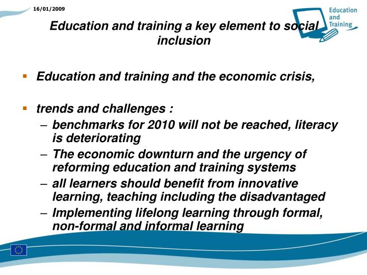 Education and training and the economic crisis,