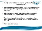 priority area validation and recognition of skills and competences