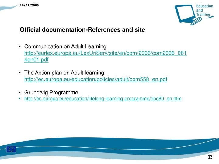 Official documentation-References and site