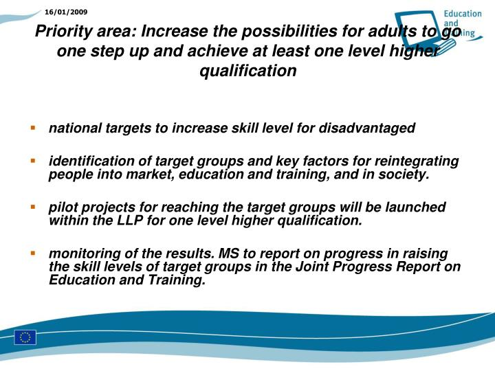 national targets to increase skill level for disadvantaged