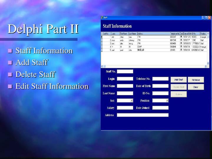 Delphi Part II