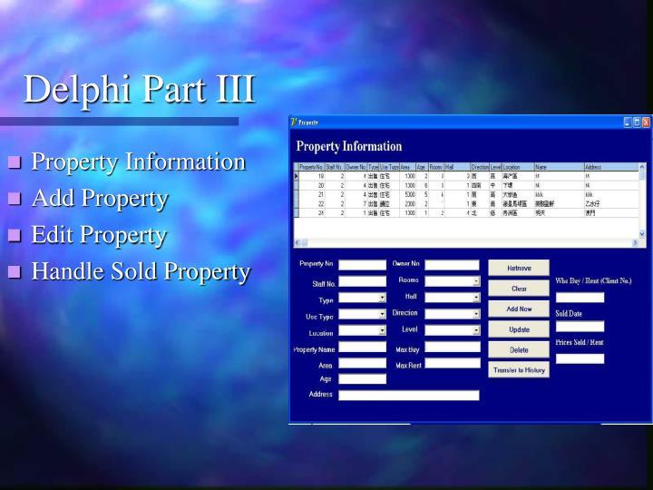 Delphi Part III