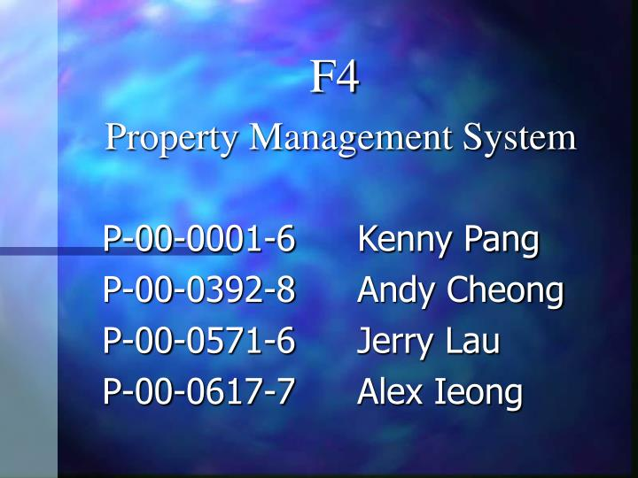 F4 property management system