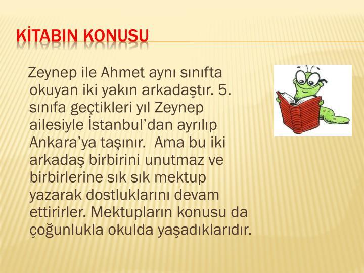 Zeynep ile Ahmet aynı sınıfta okuyan iki yakın arkadaştır. 5. sınıfa geçtikleri yıl Zeynep ailesiyle İstanbul'dan ayrılıp Ankara'ya taşınır.  Ama bu iki arkadaş birbirini unutmaz ve birbirlerine sık sık mektup yazarak dostluklarını devam ettirirler. Mektupların konusu da çoğunlukla okulda yaşadıklarıdır.