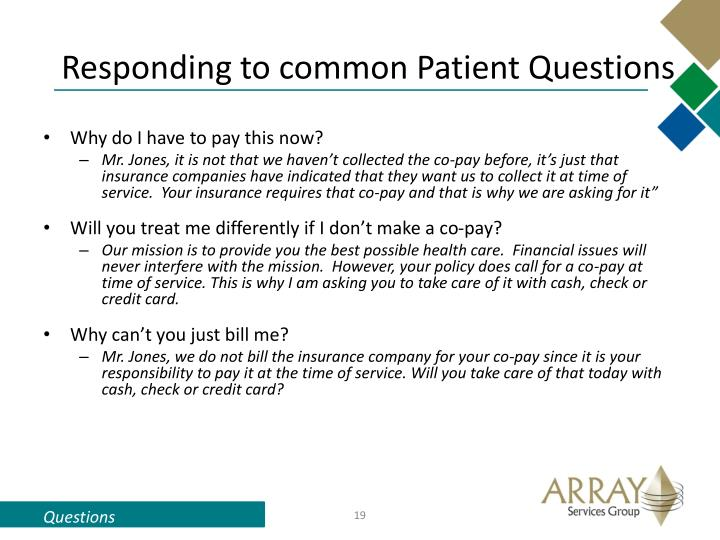 Responding to common Patient Questions