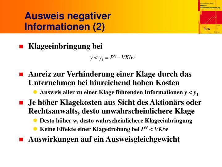 Ausweis negativer