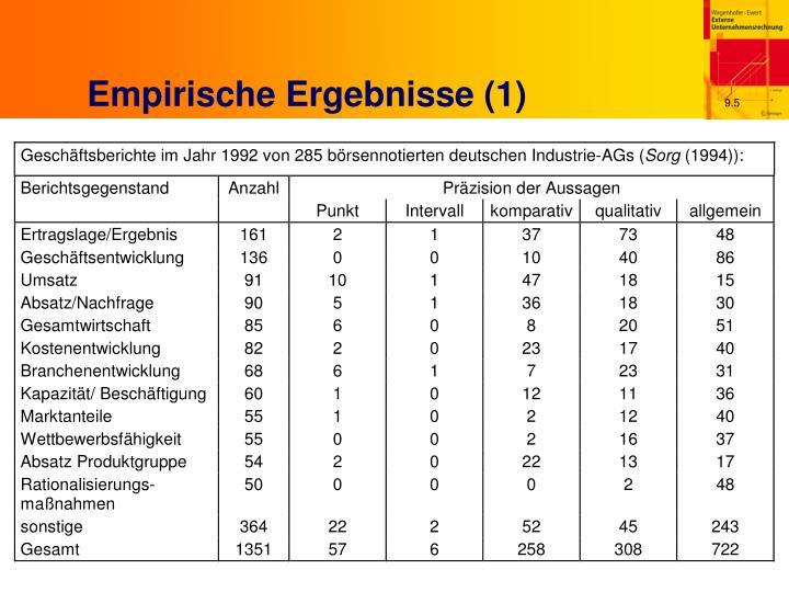 Empirische Ergebnisse (1)