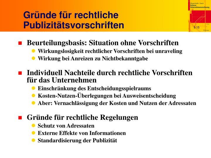 Gründe für rechtliche Publizitätsvorschriften