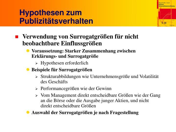 Hypothesen zum Publizitätsverhalten