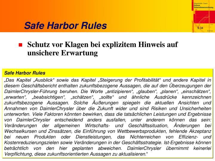 Safe Harbor Rules