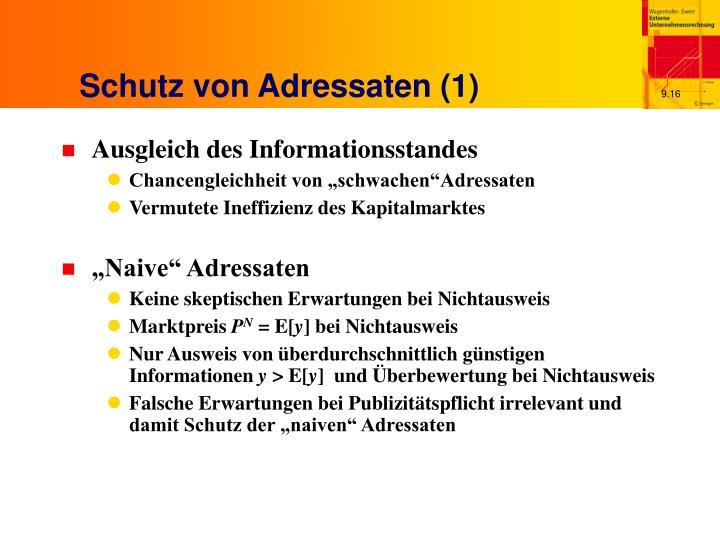 Schutz von Adressaten (1)
