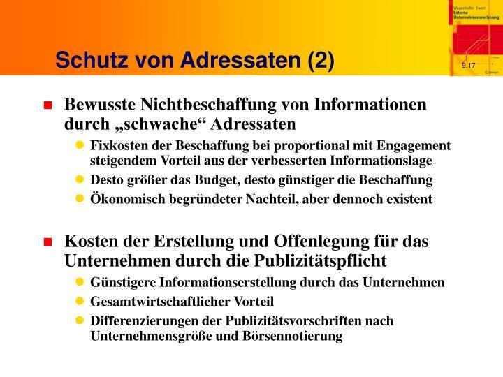 Schutz von Adressaten (2)