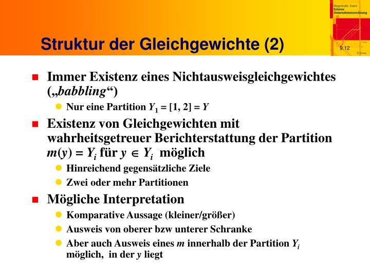 Struktur der Gleichgewichte (2)