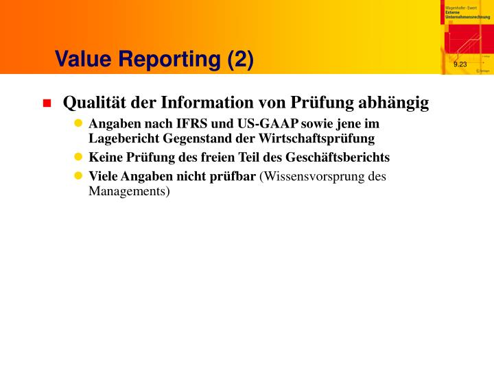 Value Reporting (2)